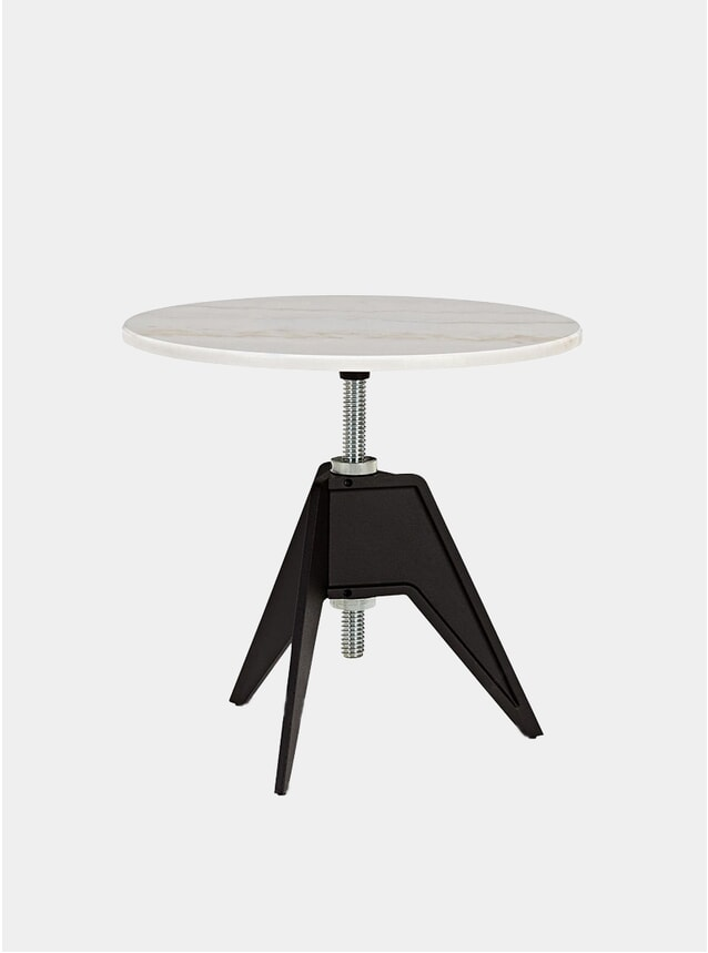 White Marble Screw Side Table