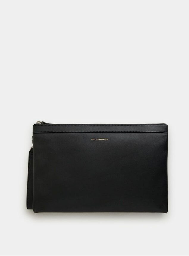 Black Barajas A4 Leather Double Zip Folio