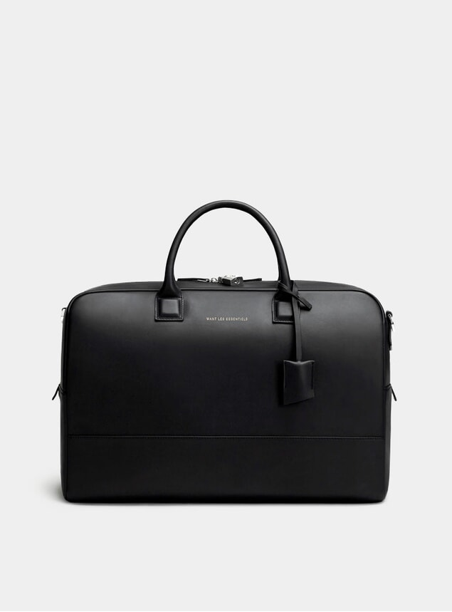 Black Douglas Leather Holdall