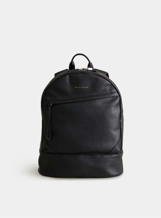 Black Leather O'Hare Kastrup Backpack