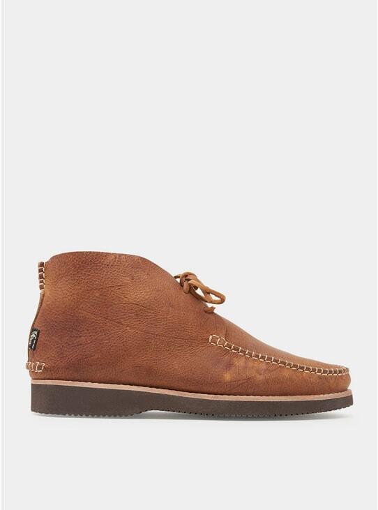 Tan Vibram Lucas Tumbled Leather Moccasins